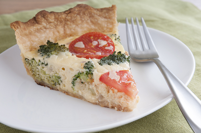 Broccoli Swiss Quiche with Whole Wheat Pie Crust