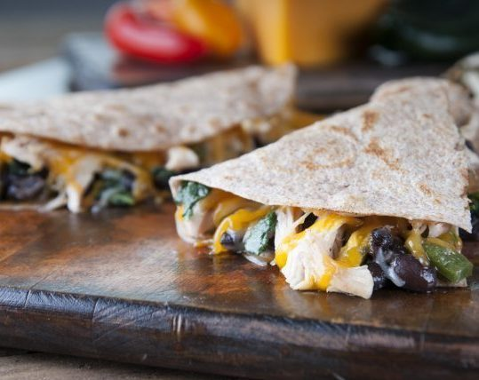 Chicken Kale and Black Bean Quesadillas