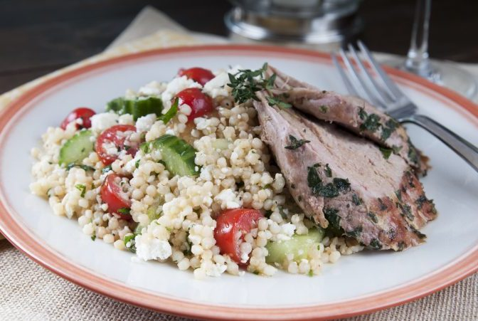 Grilled Herb-Rubbed Pork Tenderloin with Greek Israeli* Couscous