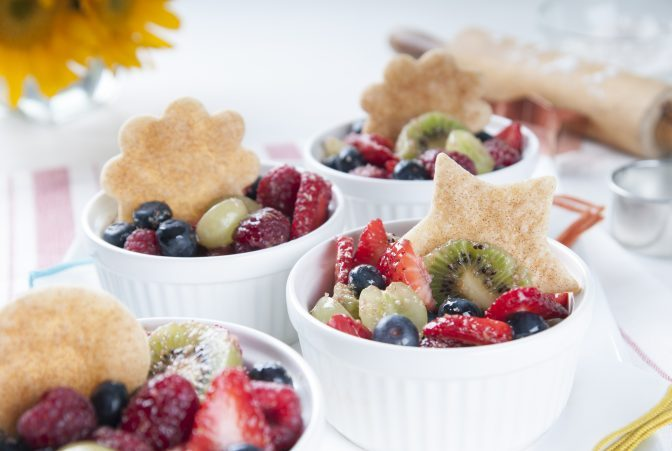 Mini Fresh Fruit Cups with Pastry Topper