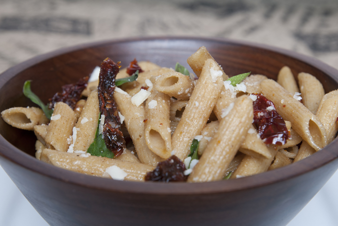 Penne Pasta with Sun-Dried Tomato & Walnuts